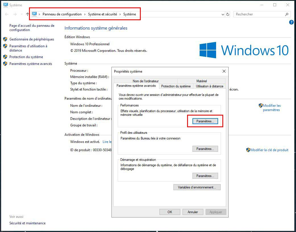 Capture de l'interface de paramètres Windows 10