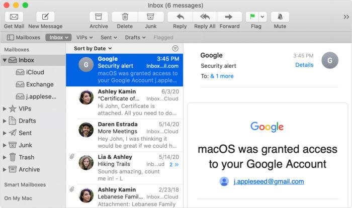 Image de l'interface Apple Mail
