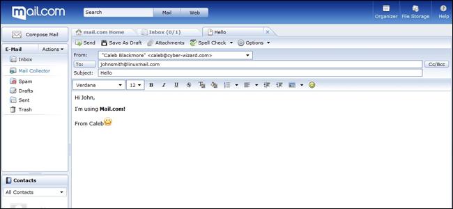 Capture d'écran de l'interface Mail.com