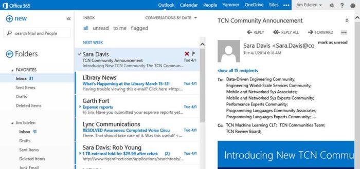 Capture d'écran interface Outlook